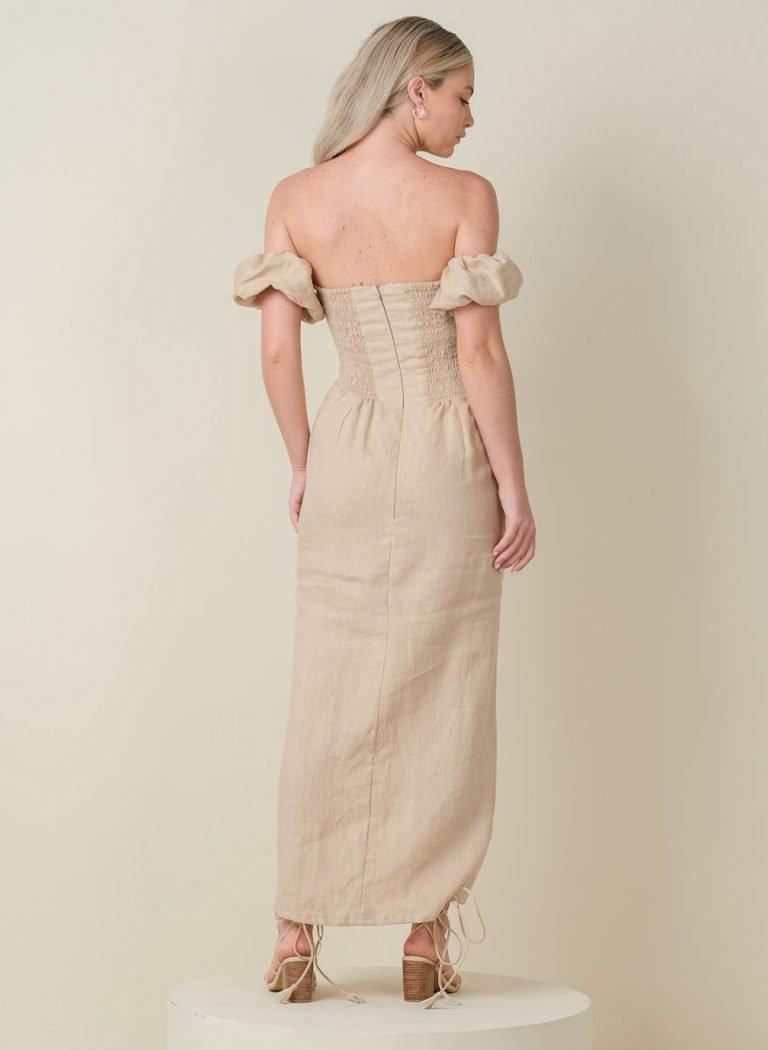 Amalfi Off Shoulder Linen Dress Cream Back (Revised)