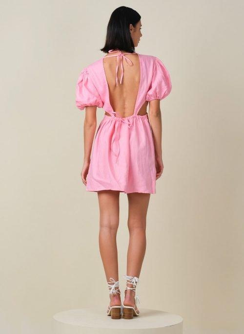 Macaron Puffy Sleeves Mini Linen Dress Back (Resized)