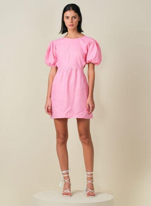 Macaron Puffy Sleeves Mini Linen Dress Front (Resized)