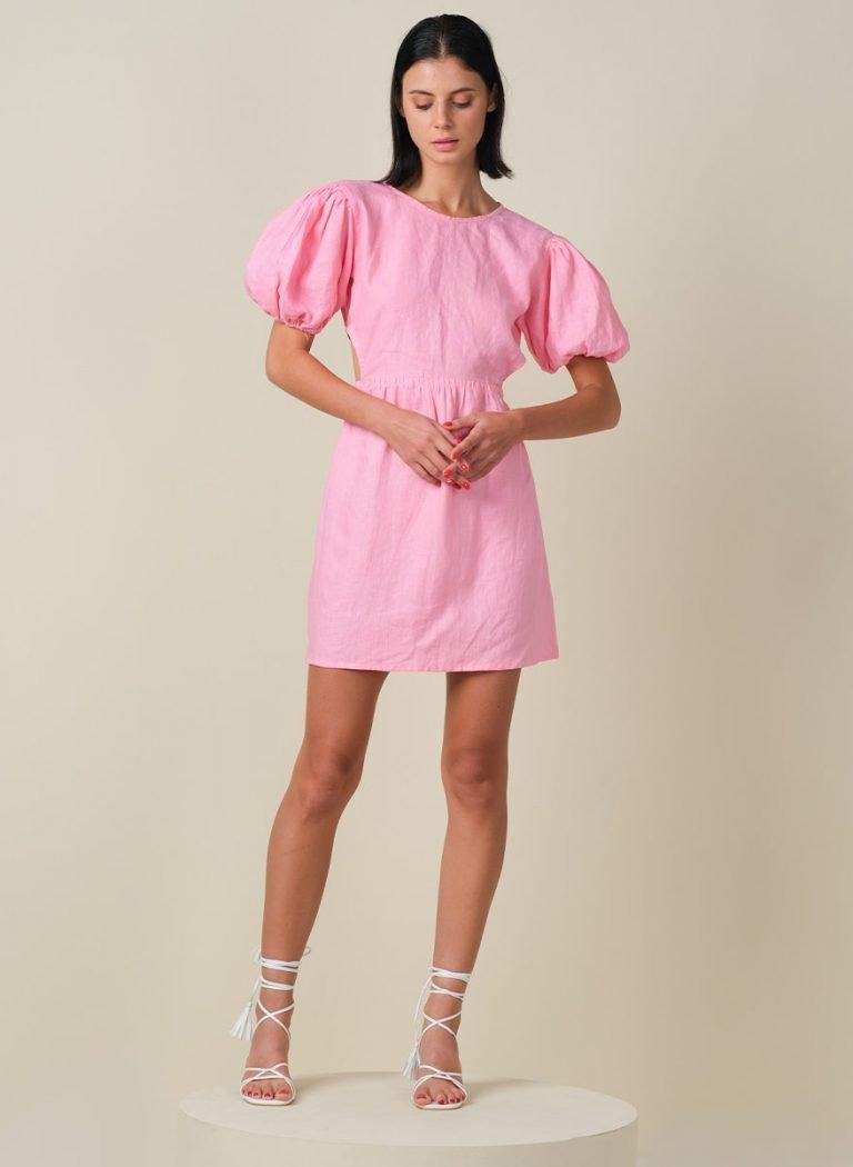 Macaron Puffy Sleeves Mini Linen Dress Front_2 (Resized)