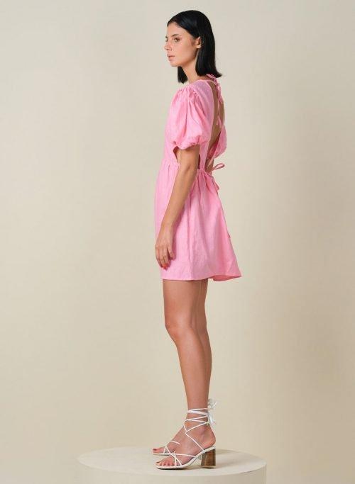 Macaron Puffy Sleeves Mini Linen Dress Side (Resized)