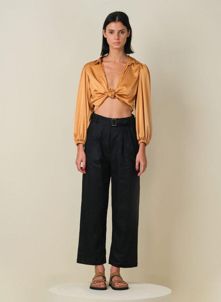 Amalfi Linen Pants Black Front (Resized) (1)