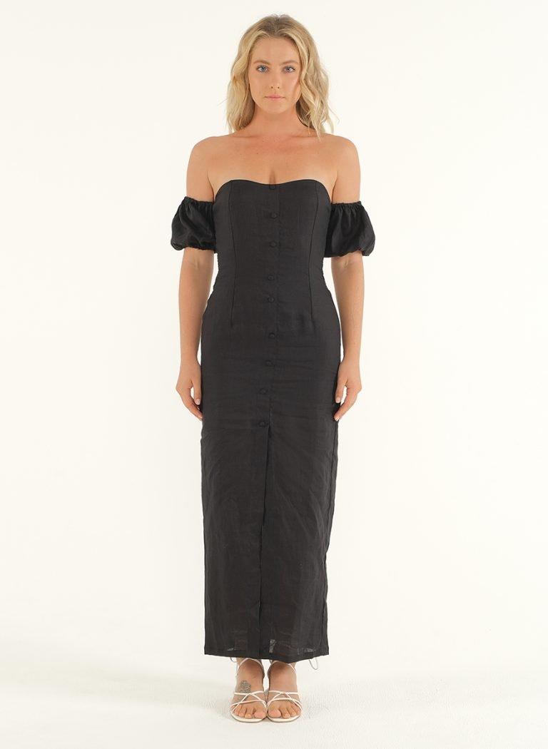 Amalfi Linen Dress in Black 1