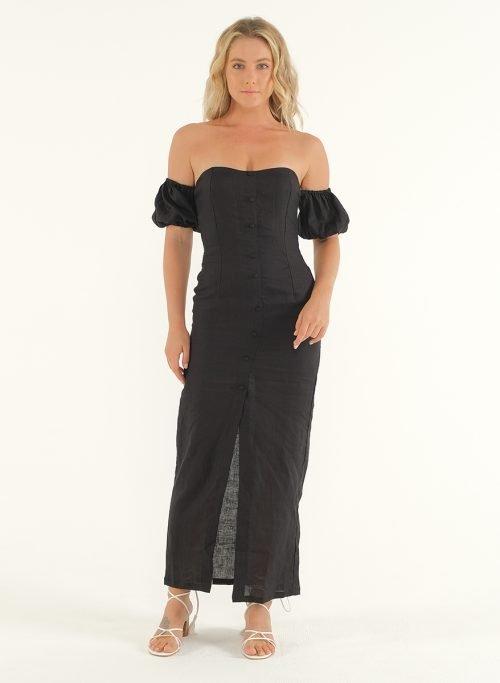 Amalfi Linen Dress in Black 2