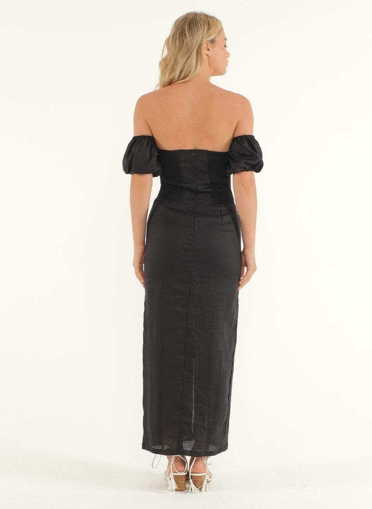 Amalfi Linen Dress in Black 3