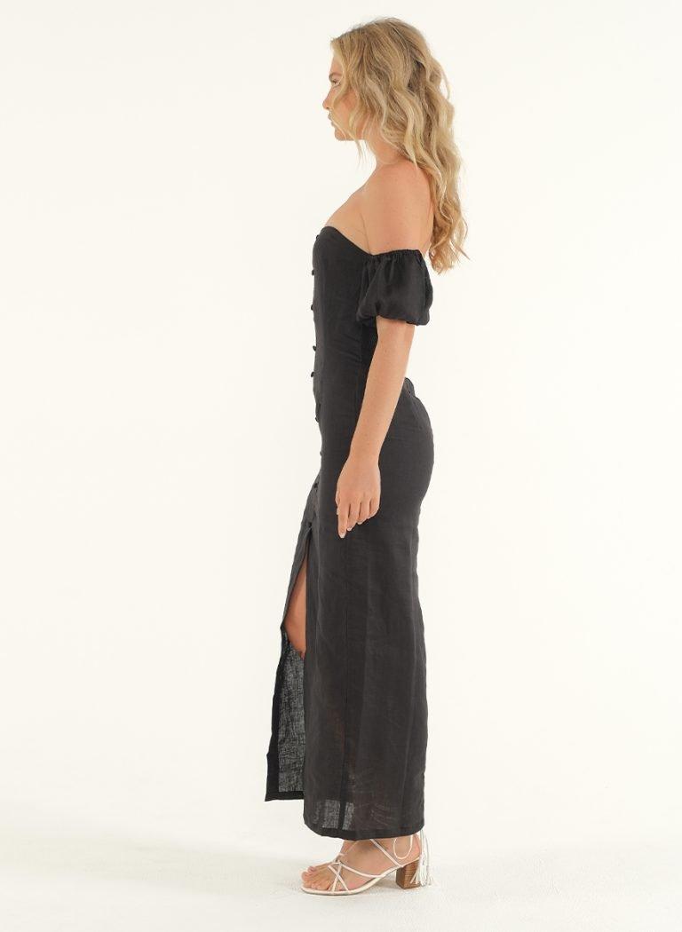 Amalfi Linen Dress in Black 4