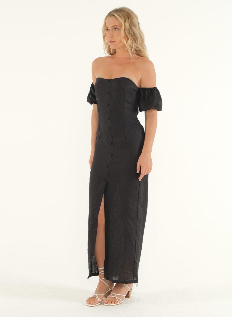 Amalfi Linen Dress in Black 5