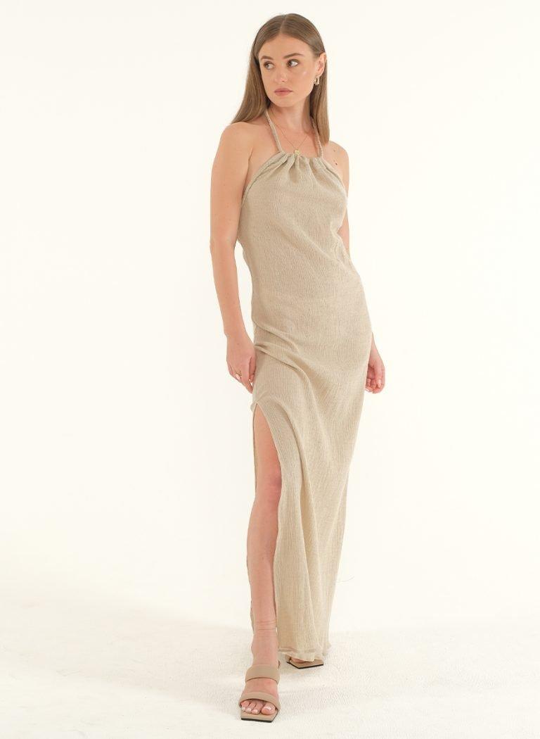 Ballari Linen Crinke Slit Maxi Dress 1