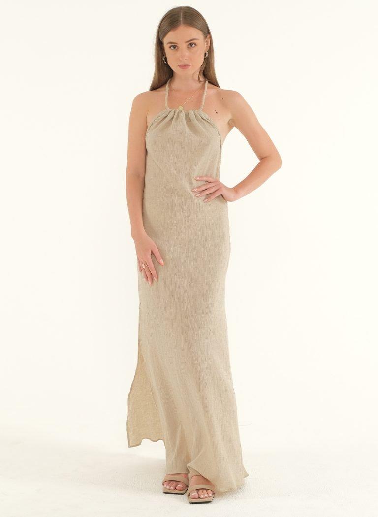 Ballari Linen Crinke Slit Maxi Dress 2