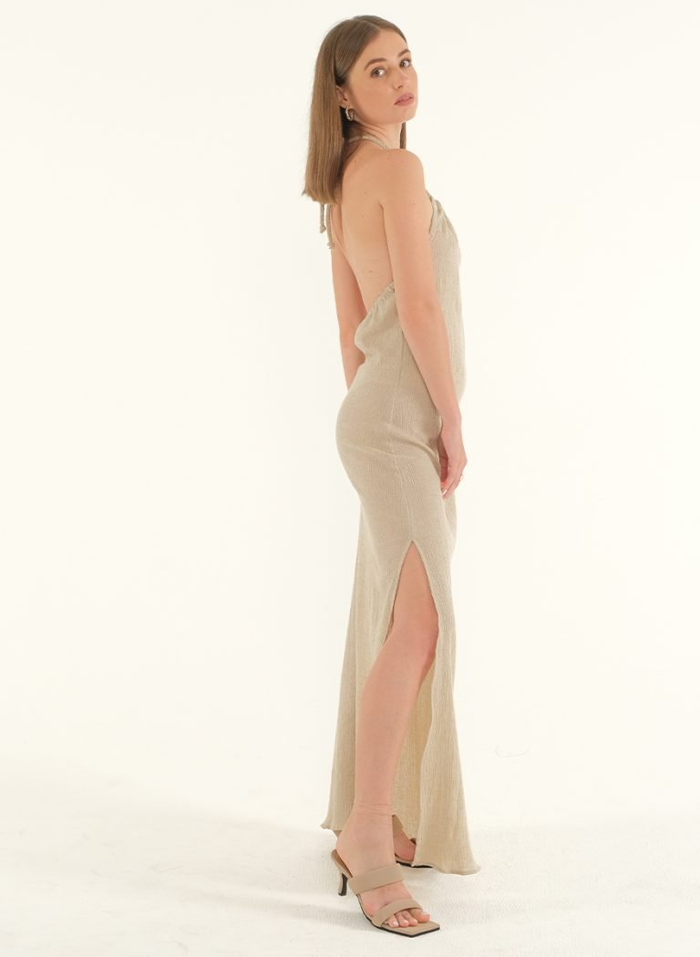 Ballari Linen Crinke Slit Maxi Dress 4