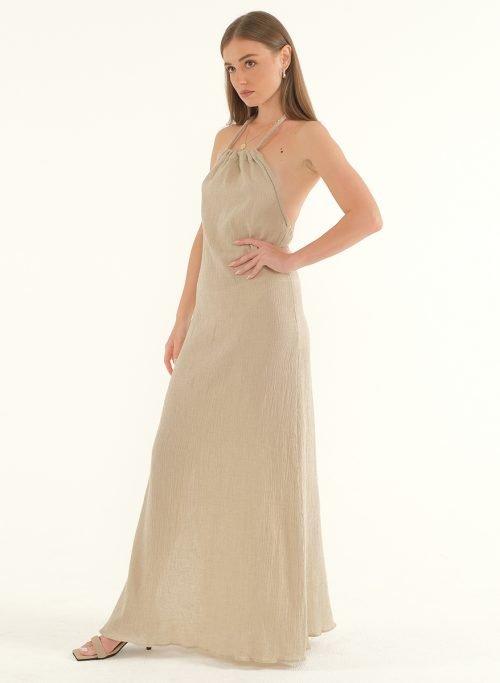 Ballari Linen Crinke Slit Maxi Dress 5