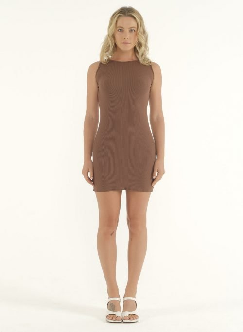 Joselyn Mini Rib Dress in Choco 1