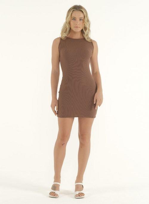 Joselyn Mini Rib Dress in Choco 2