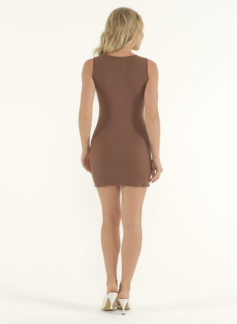 Joselyn Mini Rib Dress in Choco 3