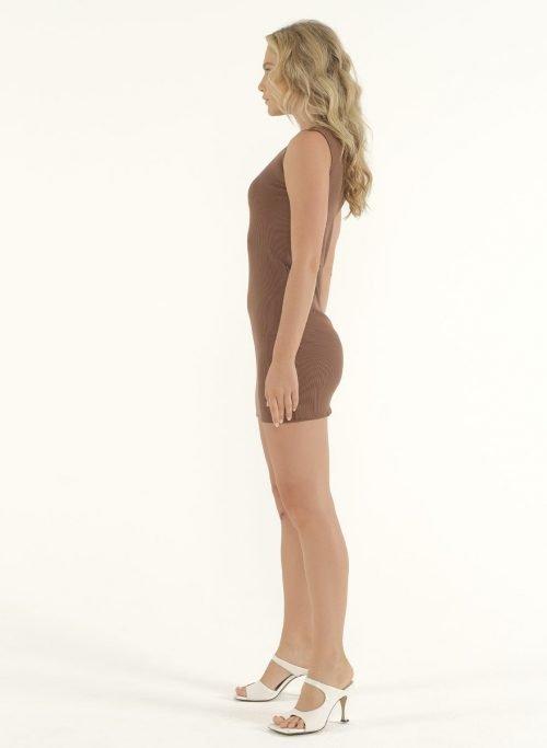Joselyn Mini Rib Dress in Choco 4