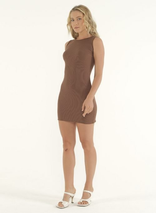 Joselyn Mini Rib Dress in Choco 5