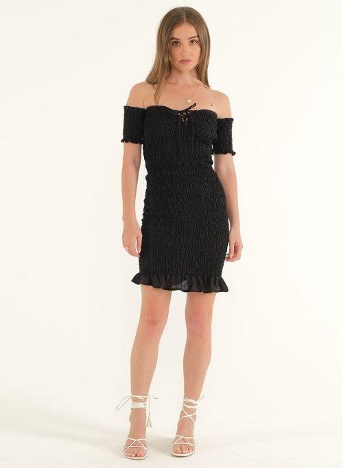 Riga Linen Mini Bodycon Dress – BlackArtboard 1