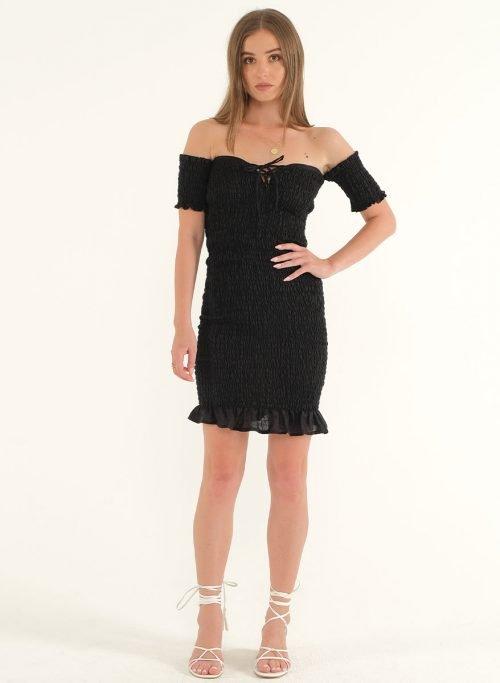 Riga Linen Mini Bodycon Dress – BlackArtboard 2