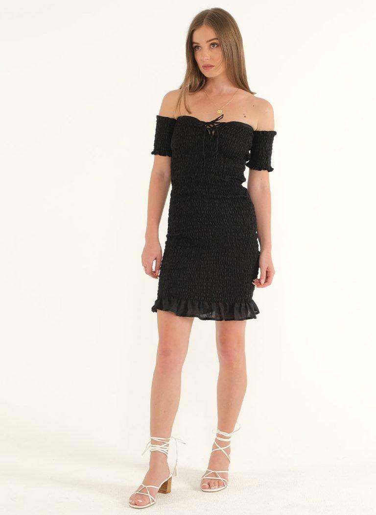 Riga Linen Mini Bodycon Dress – BlackArtboard 5