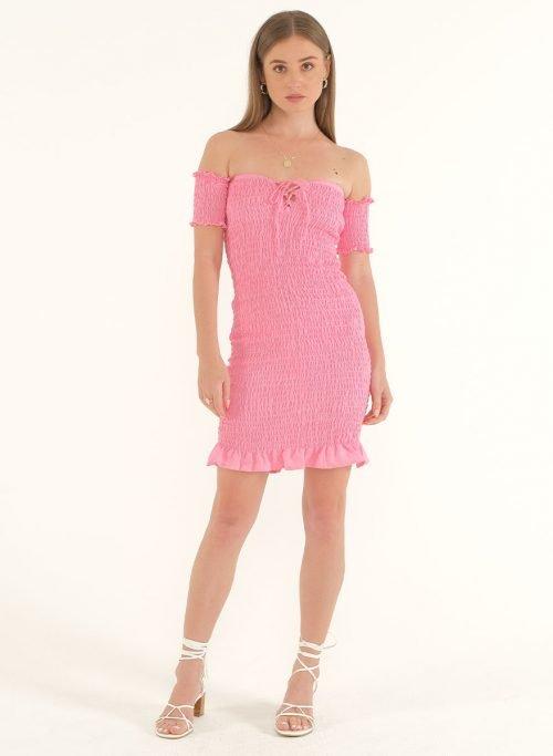 Riga Linen Mini Bodycon Dress – PinkArtboard 1