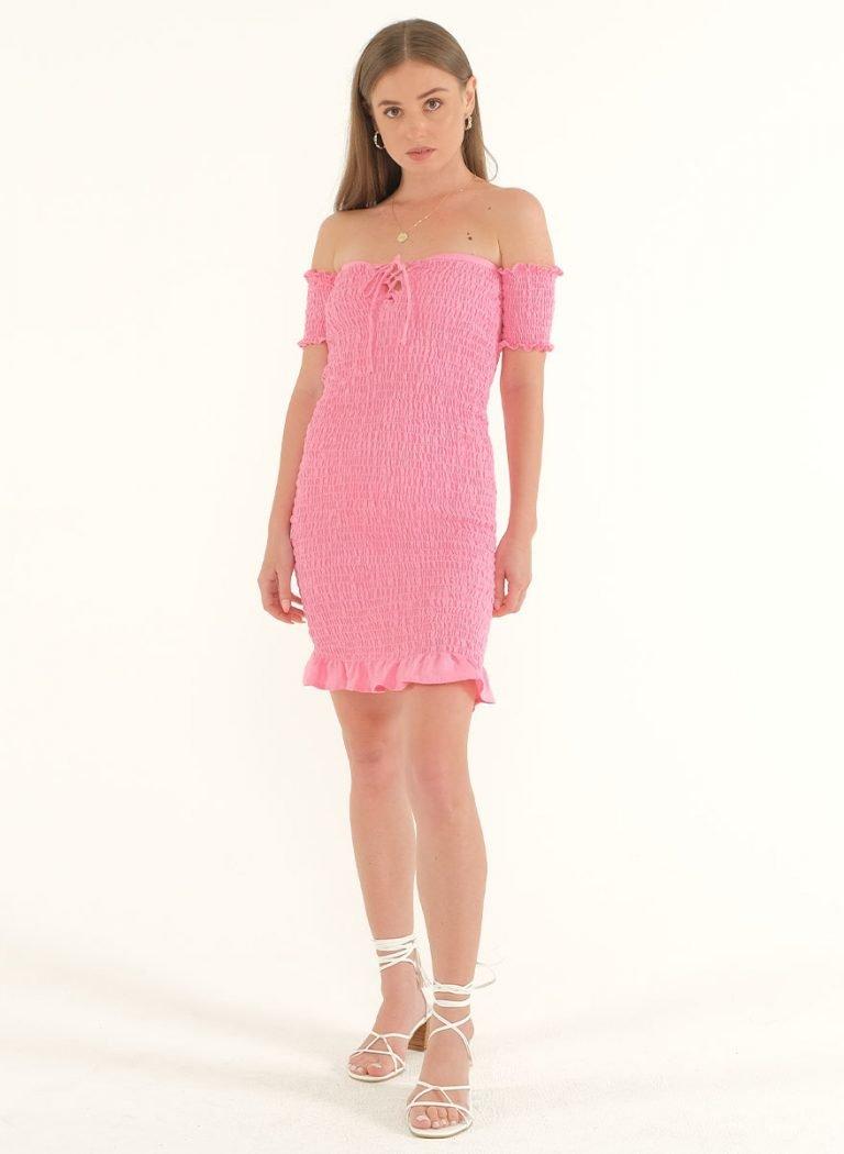 Riga Linen Mini Bodycon Dress – PinkArtboard 2