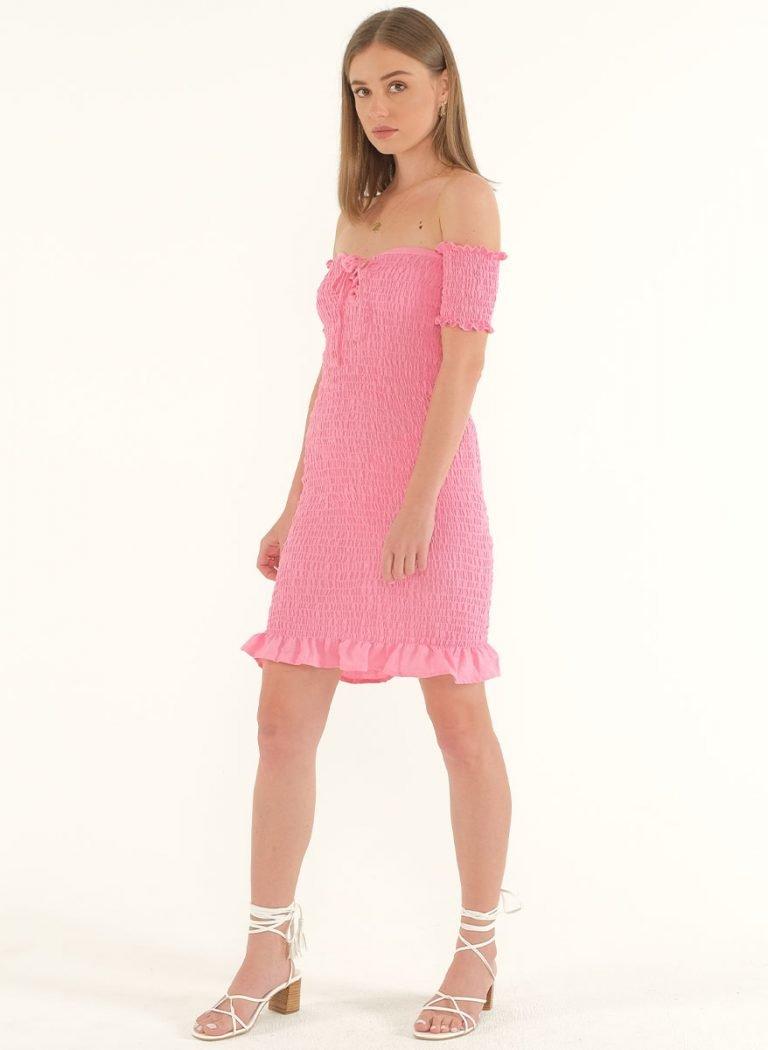 Riga Linen Mini Bodycon Dress – PinkArtboard 5