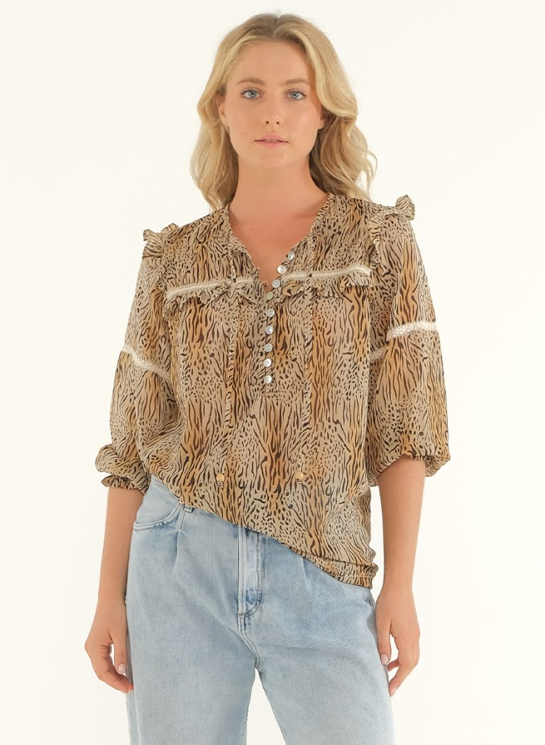 The Wild Side Blouse – Onyx Print 2